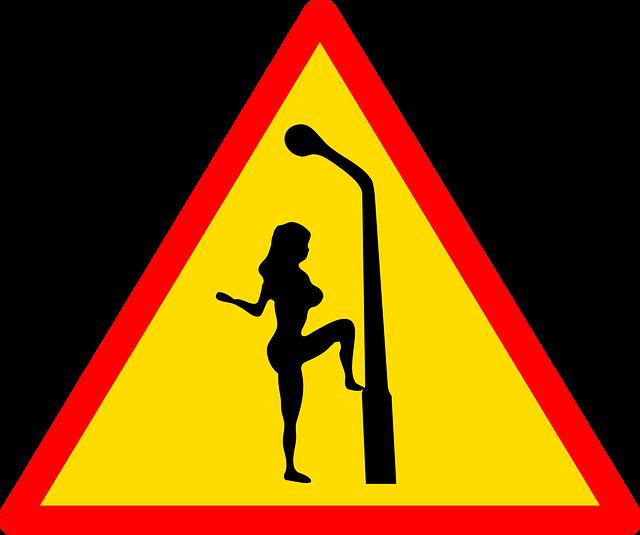 Dopravná značka, prostitútka